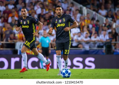 VALENCIA, SPAIN - SEP 19: Emre Can plays at the UCL match between Valencia CF and Juventus FC at Mestalla on September 19, 2018 in Valencia, Spain.