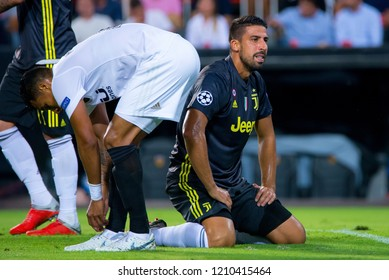 VALENCIA, SPAIN - SEP 19: Khedira plays at the UCL match between Valencia CF and Juventus FC at Mestalla on September 19, 2018 in Valencia, Spain.