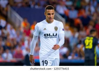 VALENCIA, SPAIN - SEP 19: Rodrigo Moreno plays at the UCL match between Valencia CF and Juventus FC at Mestalla on September 19, 2018 in Valencia, Spain.