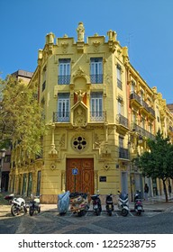 VALENCIA, SPAIN - SEPTEMBER 01, 2018: Casa de los Dragones (House of the Dragons), built in 1901 in city center, is a remarkable example of Valencian Modernism and Neo-Gothic architectural styles.