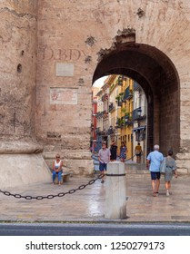 VALENCIA, SPAIN - SEPTEMBER 01, 2018: Puerta de Quart (Quart Gate), one of few of survived parts of the old city walls dated from 14th century.