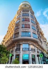 VALENCIA, SPAIN - SEPTEMBER 01, 2018: Venecia Hotel of Valencia, located in one of historic buildings at main city square.