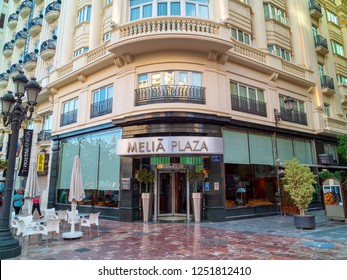 VALENCIA, SPAIN - SEPTEMBER 01, 2018: Main entrance of Melia Plaza hotel in a central area of Valencia city, founded in historic building since 1920 and renovated in 1998.