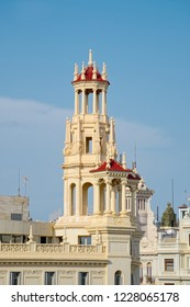 VALENCIA, SPAIN - SEPTEMBER 02, 2018: Bell tower of building called Casa del Chavo, which was designed by architect Enrique Viedma Vidal and built in 1928 in city center next to the main square.