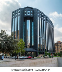 VALENCIA, SPAIN - SEPTEMBER 02, 2018: Edificio Europa (Europe Building) of Valencia city, built in 1991 as exclusive office center and became emblematic landmark due to its modern look.