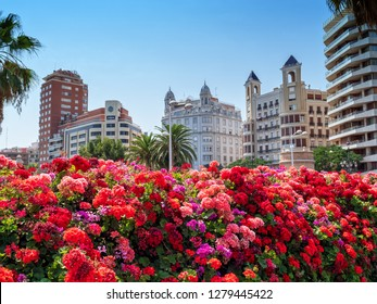 VALENCIA, SPAIN - SEPTEMBER 02, 2018: A view from The Bridge of Flowers (Spanish: Puente de las Flores), built in 2002 across the Garden of Turia in Valencia.