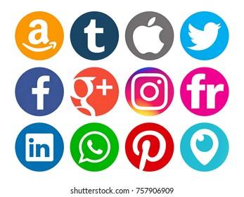 Valencia, Spain - September 03, 2017: Collection of popular social media logos printed on paper: Facebook, WhatsApp,Twitter, Amazon, Tumblr, Instagram, Pinterest, Linkedin, Periscope, Flickr,  Apple.