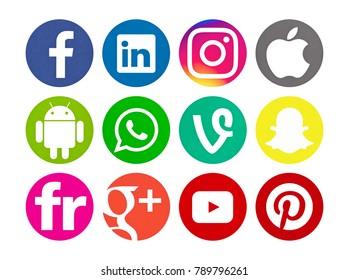 Valencia, Spain - September 03, 2017: Collection of popular social media logos printed on paper: Facebook, WhatsApp, Vine, Apple, Snapchat, Instagram, Pinterest, Linkedin, Flickr, YouTube, Android.