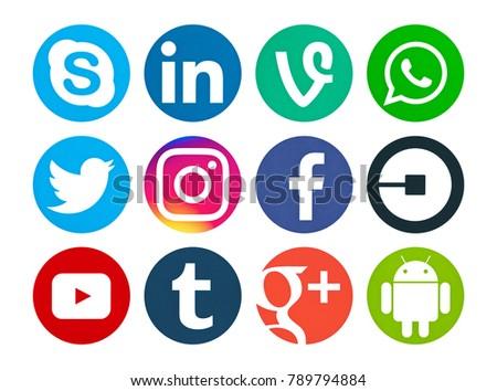 3f721f6ac10b7f Valencia, Spain - September 03, 2017: Collection of popular social media  logos printed