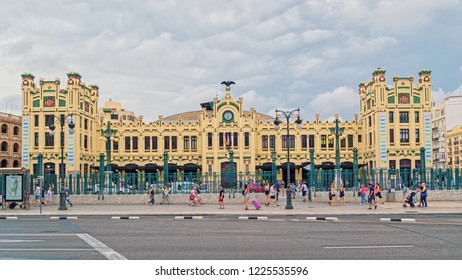 VALENCIA, SPAIN - SEPTEMBER 03, 2018: Estacio del Nord (The North Station) is the main railway station in Valencia, built in 1917 in Art Nouveau architectural style close to the city center.