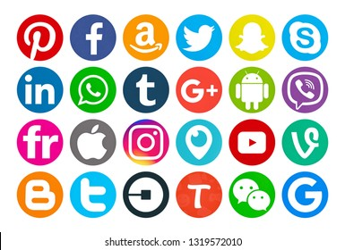 Valencia, Spain - September 03, 2018: Collection of popular social media logos printed on paper: Facebook,Flickr, Pinterest,Tumblr, Instagram, Linkedin, Android,Twitter,Snapchat,Amazon, Android,Viber.
