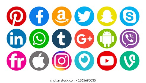 Valencia, Spain - September 03, 2018:  Collection of popular social media logos printed on paper: Facebook,Twitter,Flickr, Pinterest,Tumblr,Instagram, Linkedin,Skype,YouTube, Android,WhatsApp,Snapchat