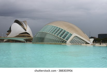 Valencia, Spain, September, 07, 2015, Museum of Science Prince Felipe before the storm, Sky became grey, heavy clouds, full with water are approaching, soon begin rain, editorial.
