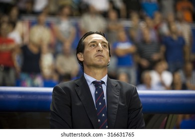VALENCIA, SPAIN - SEPTEMBER 11: Unay Emery during BBVA LEAGUE match between Levante U.D. And Sevilla C.F. at Ciudad de Valencia Stadium on September 11, 2015 in Valencia, Spain