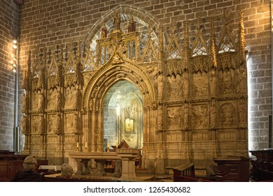 Valencia, Spain - September, 12, 2018. The Holy Grail in Valencia Cathedral. The church has different architectural styles - roman, gothic and baroque - which make in the main historical landmark