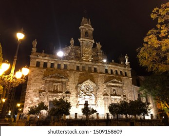 Valencia / Spain - September 13 2019: Royal Parish of Santos Juanes, also known as San Juan del Mercado church located in central old town of Valencia, Spain