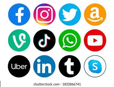 Valencia, Spain - September 13, 2020: Popular social media logos printed on paper: Amazon,YouTube,Skype,TikTok, Vine, WhatsApp, Uber, Facebook, Instagram, Telegram, LInkedin, Tumblr.