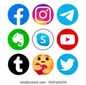 Valencia, Spain - September 13, 2020: Collection of popular social media logos printed on paper: Facebook, Instagram, Telegram, Evernote, Skype, YouTube, Twitter,Hug reaction,Tumblr.