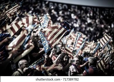 VALENCIA, SPAIN - SEPTEMBER 16: Supporters during Spanish La Liga match between Levante Ud and Valencia CF at Ciutat de Valencia Stadium on September 16, 2017 in Valencia, Spain