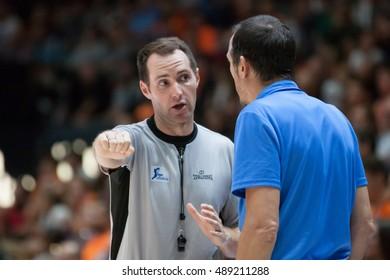 VALENCIA, SPAIN - SEPTEMBER 25th: Referee talks with Maldonado during match between Valencia Basket and Estudiantes at Fonteta Stadium on September 25, 2016 in Valencia, Spain