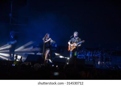 VALENCIA, SPAIN - SEPTEMBER 4: Alejandro Sanz during the concert at Valencia Bullring on September 4, 2015 in Valencia, Spain