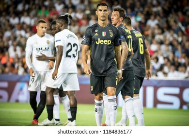 VALENCIA, SPAIN - SETEMBER 19: (C) Cristiano Ronaldo during UEFA Champions League match between Valencia CF and Juventus at Mestalla Stadium on September 19, 2018 in Valencia, Spain