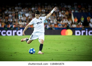 VALENCIA, SPAIN - SETEMBER 19: Carlos Soler during UEFA Champions League match between Valencia CF and Juventus at Mestalla Stadium on September 19, 2018 in Valencia, Spain