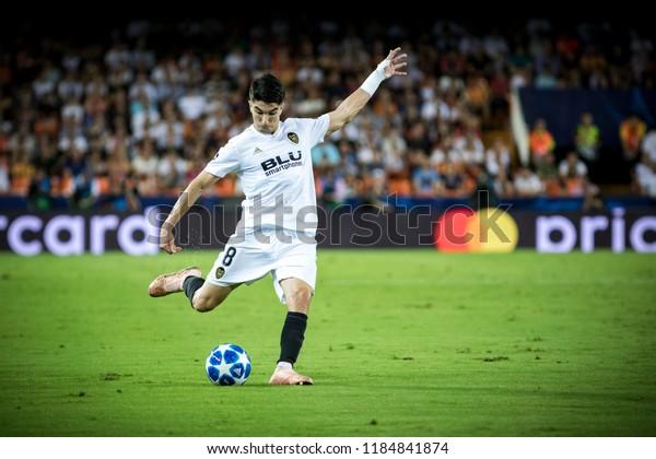VALENCIA, SPAIN - SETEMBER 19: Carlos Soler during UEFA Champions League match between Valencia CF and Juventus at Mestalla Stadium on September 19, 2018 in Valencia, Spain