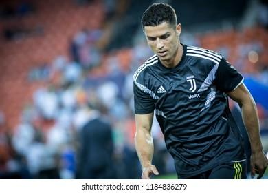 VALENCIA, SPAIN - SETEMBER 19: Cristiano Ronaldo during UEFA Champions League match between Valencia CF and Juventus at Mestalla Stadium on September 19, 2018 in Valencia, Spain