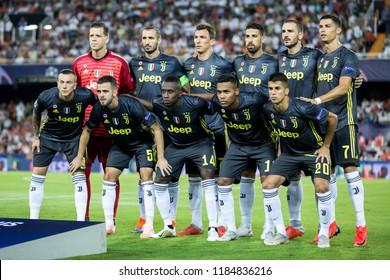VALENCIA, SPAIN - SETEMBER 19: Juve team during UEFA Champions League match between Valencia CF and Juventus at Mestalla Stadium on September 19, 2018 in Valencia, Spain