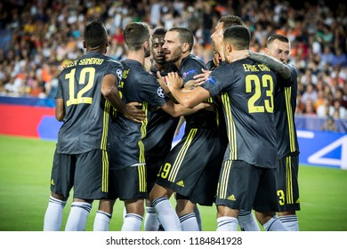 VALENCIA, SPAIN - SETEMBER 19: Juve players celebrating a goal during UEFA Champions League match between Valencia CF and Juventus at Mestalla Stadium on September 19, 2018 in Valencia, Spain