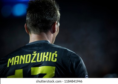 VALENCIA, SPAIN - SETEMBER 19: Mandzukic during UEFA Champions League match between Valencia CF and Juventus at Mestalla Stadium on September 19, 2018 in Valencia, Spain