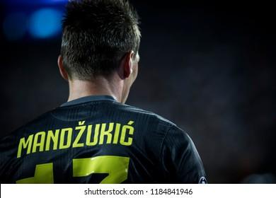 VALENCIA, SPAIN - SETEMBER 19: Mandzukic during UEFA Champions League match between Valencia CF and Juventus at Mestalla Stadium on September 19, 2018 in Valencia, Spain