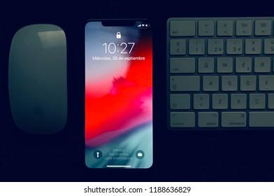 VALENCIA, SPAIN - SETEMBER 26: iPhone Xs Max 256 GB on desktop on September 26, 2018 in Valencia, Spain