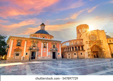 Valencia Spain Square of Saint Mary's Architecture at Sunrise.