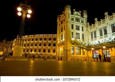 Valencia train station and Plaza de toros, Spain