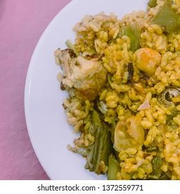 Valencian paella dish