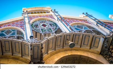The Valencia's central market, which is a popular public market located in Market square next to the Llotja de la Seda and the church of the Santos Juanes in the city of Valencia, in Spain, Europe