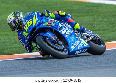 Valencia/Spain - 11/20/2018 - #36 Joan MIR (SPA) on his maiden run aboard the Suzuki GSX-RR MotoGP bike during the first day of 2018 winter testing at the Ricardo Tormo circuit