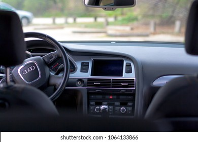 Valencia/Spain - April 08, 2018: View from the back seat of Audi A6 Vagon car. Dashboard view. 2009 year model, quattro.