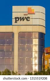 Valencia,Spain - February 16, 2019: Price waterhouse office in Valencia city.   PWC.