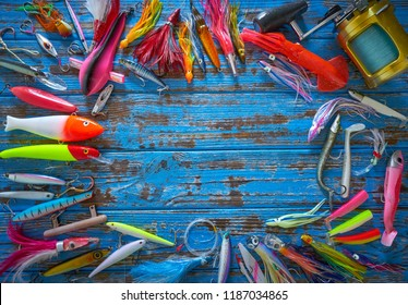 VALENCIA/SPAIN-0920: Fishing lures for Tuna and marlin Big game trolling and spinning fishing in offshore saltwater on September 2018 in Mediterranean Sea area.