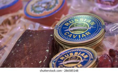 VALENCIA,SPAIN-CIRCA MARCH 2015: Russian caviar on sale