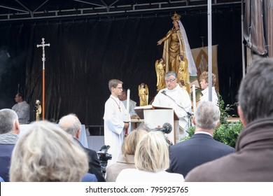 Valenciennes, France. September 10 2017. A celebration of the feast of Notre-Dame du Saint-Cordon (Holy Mary of the holy cordon or thread). A public mass celebrated by a bishop.