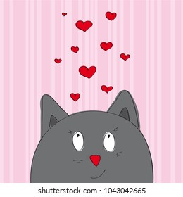 Valentine card with grey cat looking from the bottom of the page - original hand drawn illustration