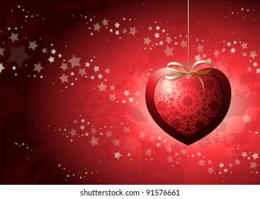 Valentine card, vintage background with heart