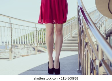 Valentine celebrate holiday 14 february good nice fit slim figure shape concept. Low angle view close up photo of seductive beautiful attractive pretty long straight legs wearing design highheels