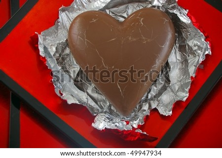 Valentine Chocolate Heart Red Foil On Stock Photo Edit Now