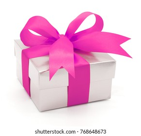 Valentine , Christmas and New Year's Day , pink gift box white background