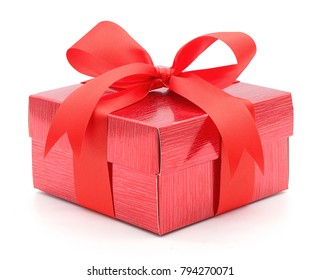 Valentine , Christmas and New Year's Day , red gift box white background